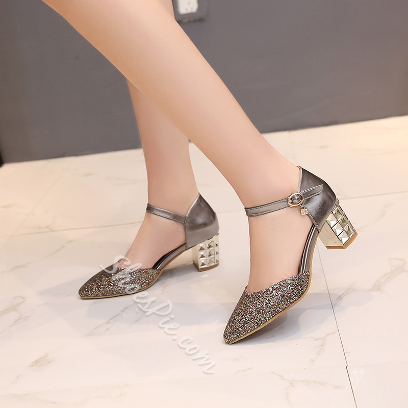 Shoespie Glittering Pointed Toe Chunky Heels
