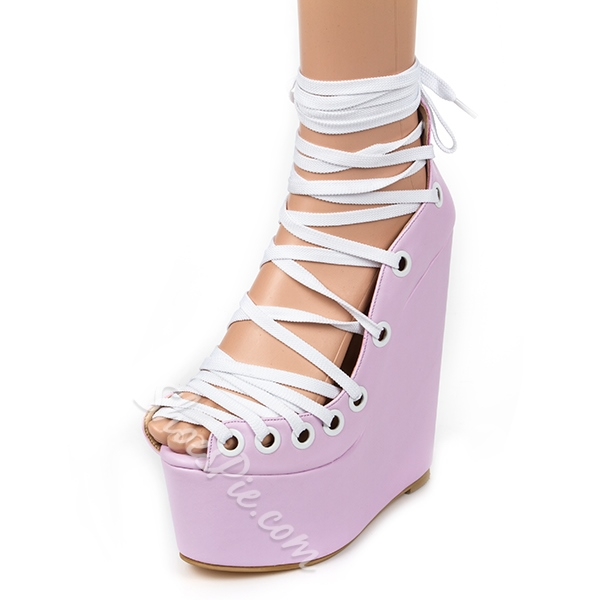 Shoespie Sexy Lace Up Wedge Heel Dress Sandals