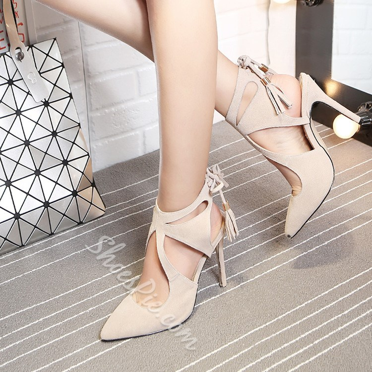 Shoespie Solid Color Backless Lace Up Stiletto Heels