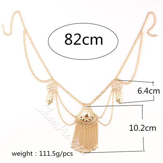 Shoespie Jewelled Metal Tassels Waist Chain