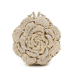 Shoespie Deluxe Full of Rhinestone Rose Clutch