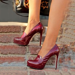 Shoespie Burgundy Round Toe Stiletto Heels