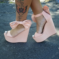 Shoespie Bowtie Wedge Sandals
