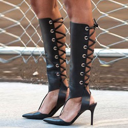 Shoespie Black Punk Lace Up Sandal Boots