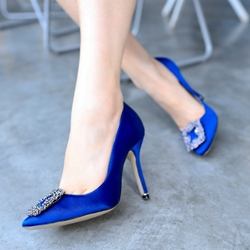 Shoespie Chic Royal Blue Court Shoes