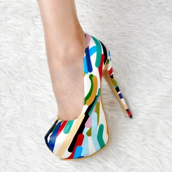Shoespie Color Block Platform Heels