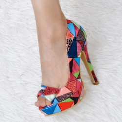 Shoespie Red Geometric Contrast Color Peep Toe Heels