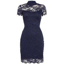 See-Through Stand Collar Bodycon Dresses