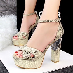 Shoespie Transparent Heel Platform Sandals