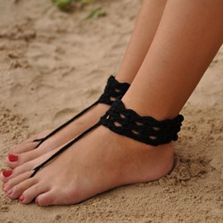 Shoespie Black Weave Beach Anklets (pair)