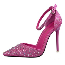 Shoespie Sequined Pointed Toe Ankle Wrap Stiletto Heels