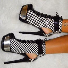 Shoespie Black & White Grid Metal Deco Platform Heels