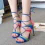 Shoespie Color Block Lace Up Sandals