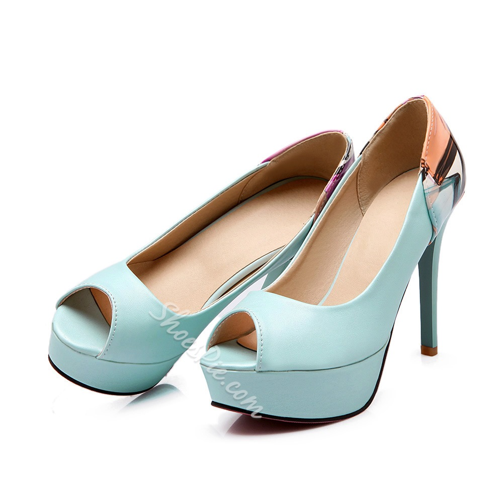 Shoespie Simply Color Block Peep Toe Heels