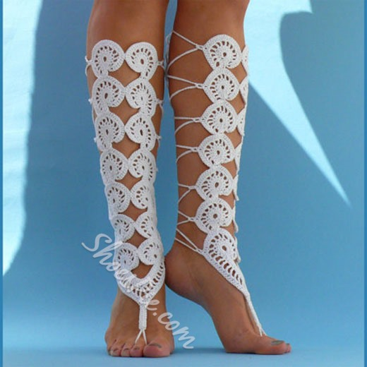 Shoespie White Weave Beach Anklets(pair)
