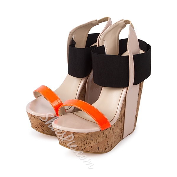Shoespie Color Block Wooden Heel Wedge Sandals- Shoespie.com