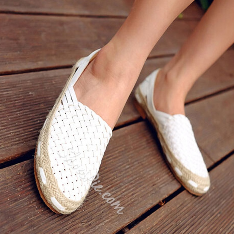 Shoespie Weave Beach Round Toe Loafers