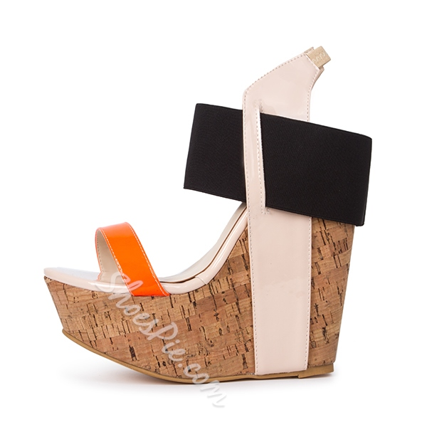 Shoespie Color Block Wooden Heel Wedge Sandals