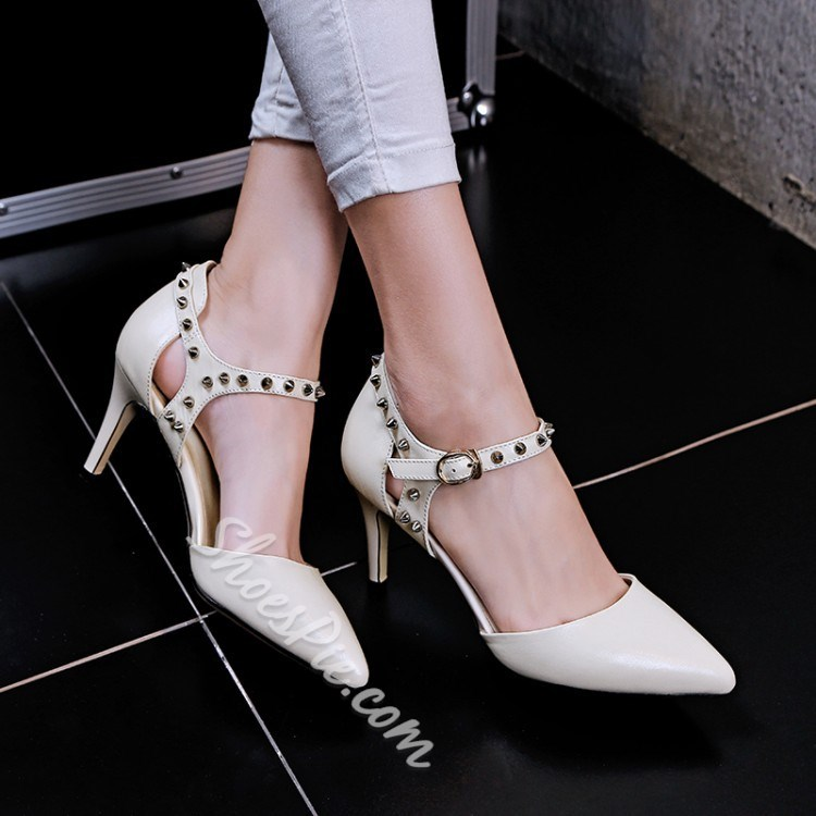 Shoespie Rivets Pointed Toe Low Heels