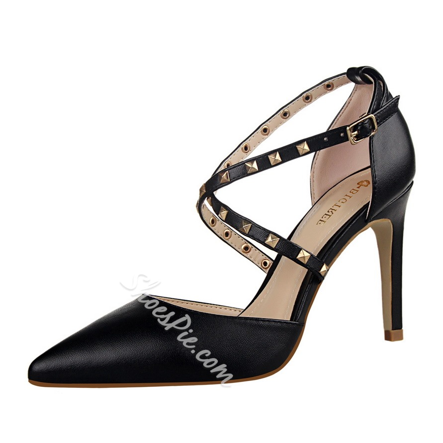Shoespie Rivets Cross Strap Stiletto Heels