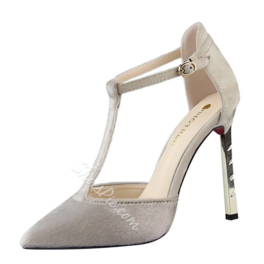 Shoespie T Strap Triangle Metal Heels