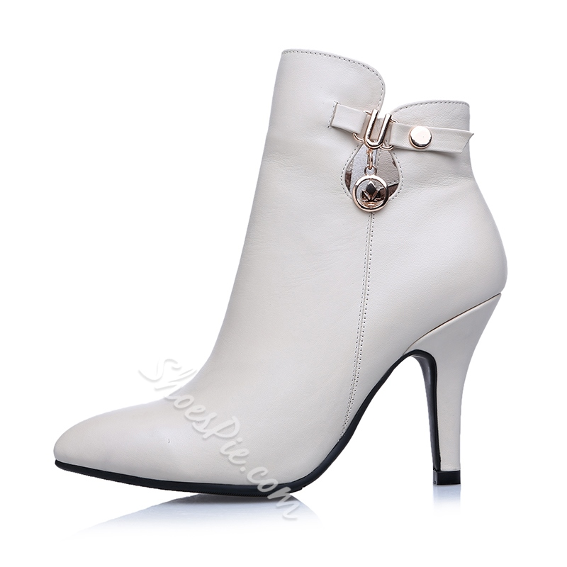 Shoespie Solid Color Pointed Toe Ankle Boots