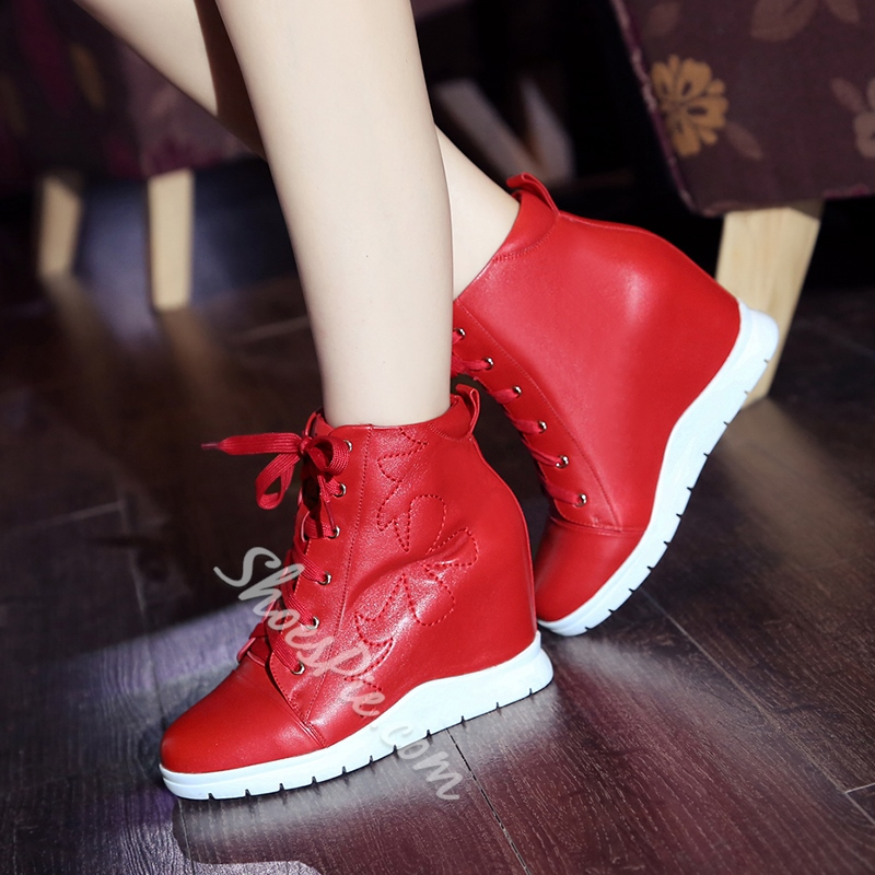 Shoespie Leather Threading Elevated Sneakers