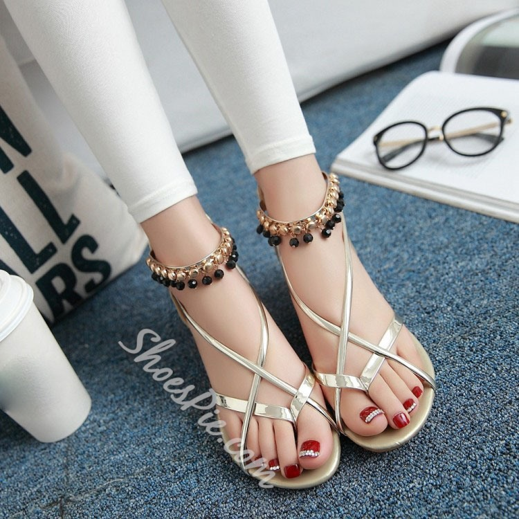 Shoespie Metal Ankle Wrap Flat Sandals