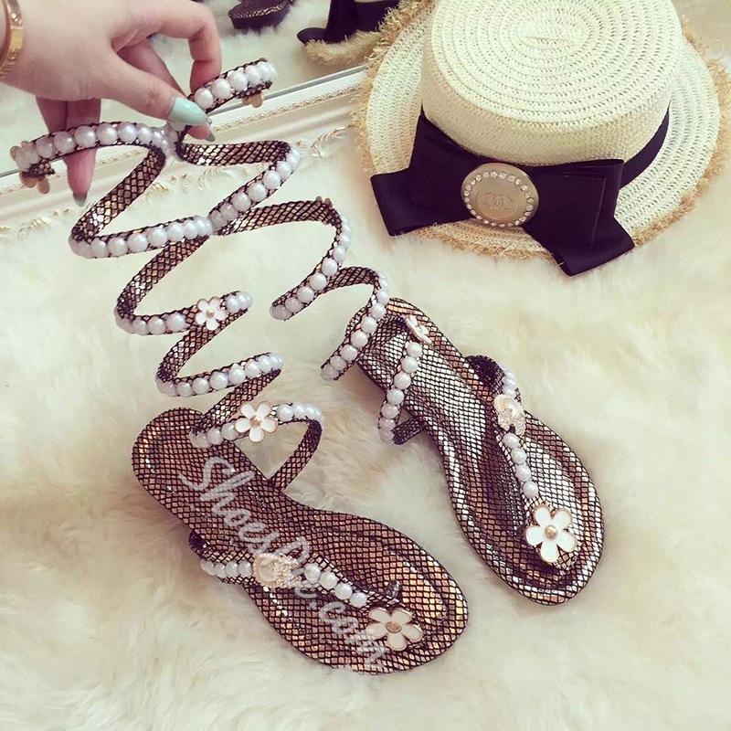 Shoespie Pearls Flat Sandals