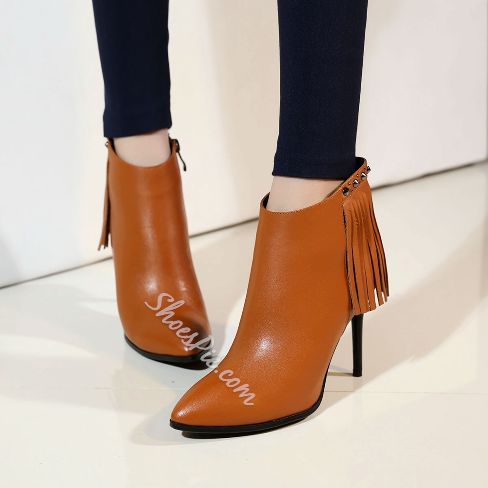 Shoespie Tassels Stiletto Heel Ankle Boots