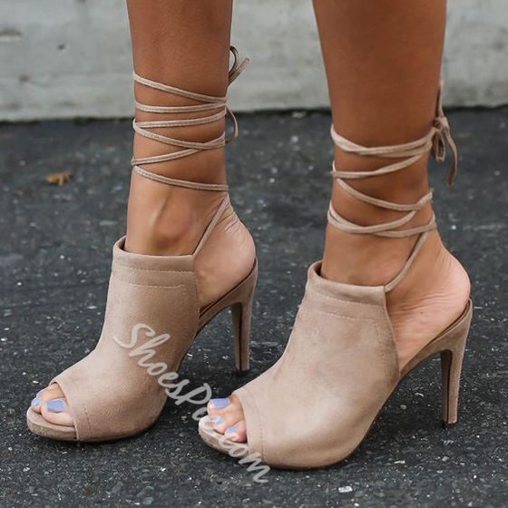 Shoespie Apricot Ankle Lace Up Sandals