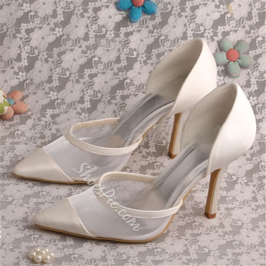 Shoespie Beige Mesh Stiletto Heel Bridal Shoes