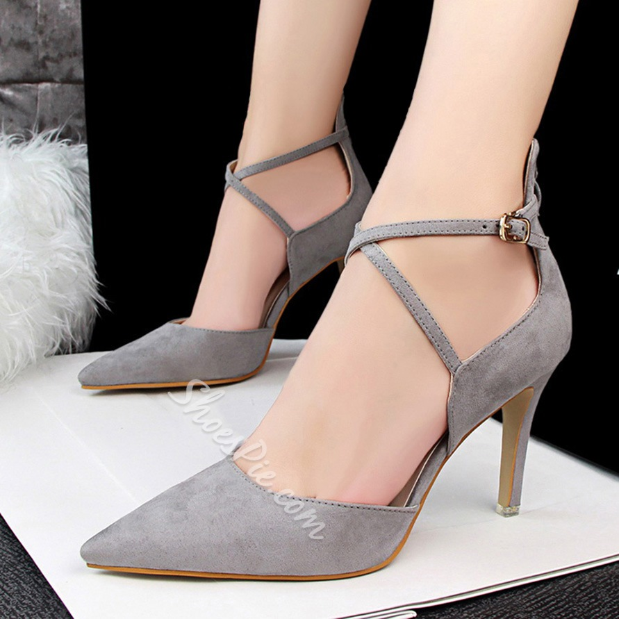 Shoespie Cross Strap Pointed Toe Stiletto Heels