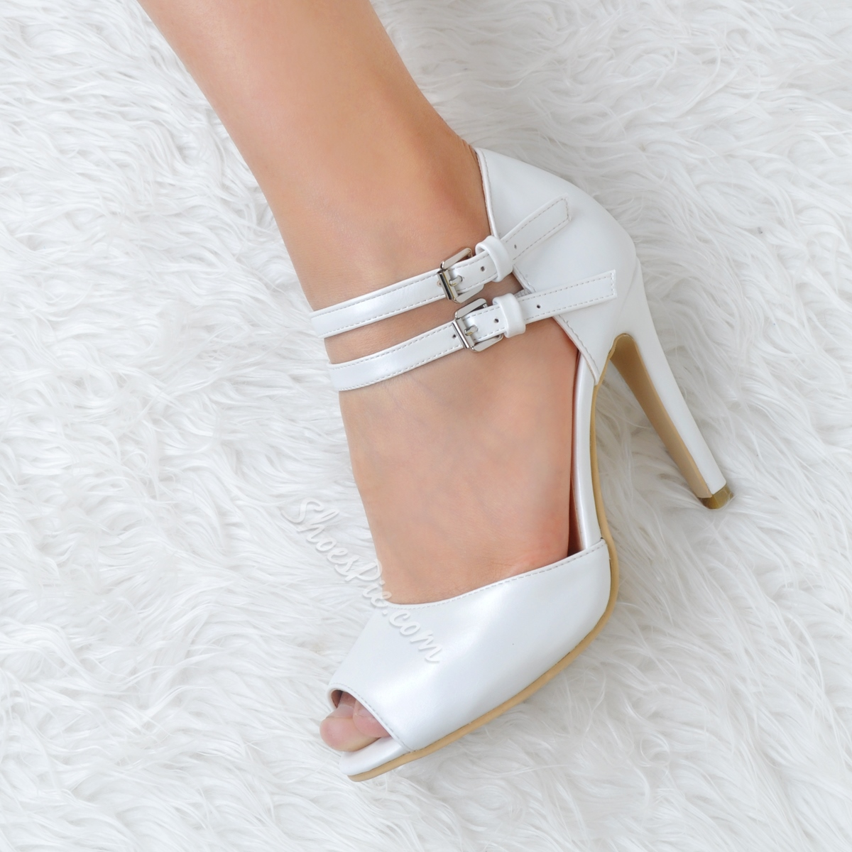 Shoespie White Peep Toe Sandals