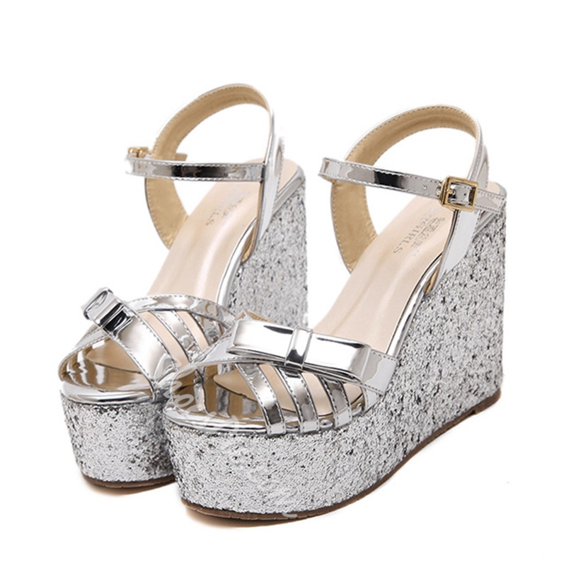 Shoespie Sequined Wedge Sandals