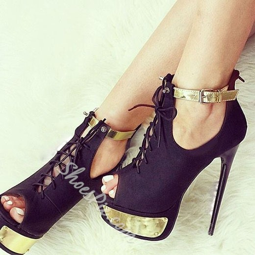 Shoespie Black Metal Peep Toe Platform Heels