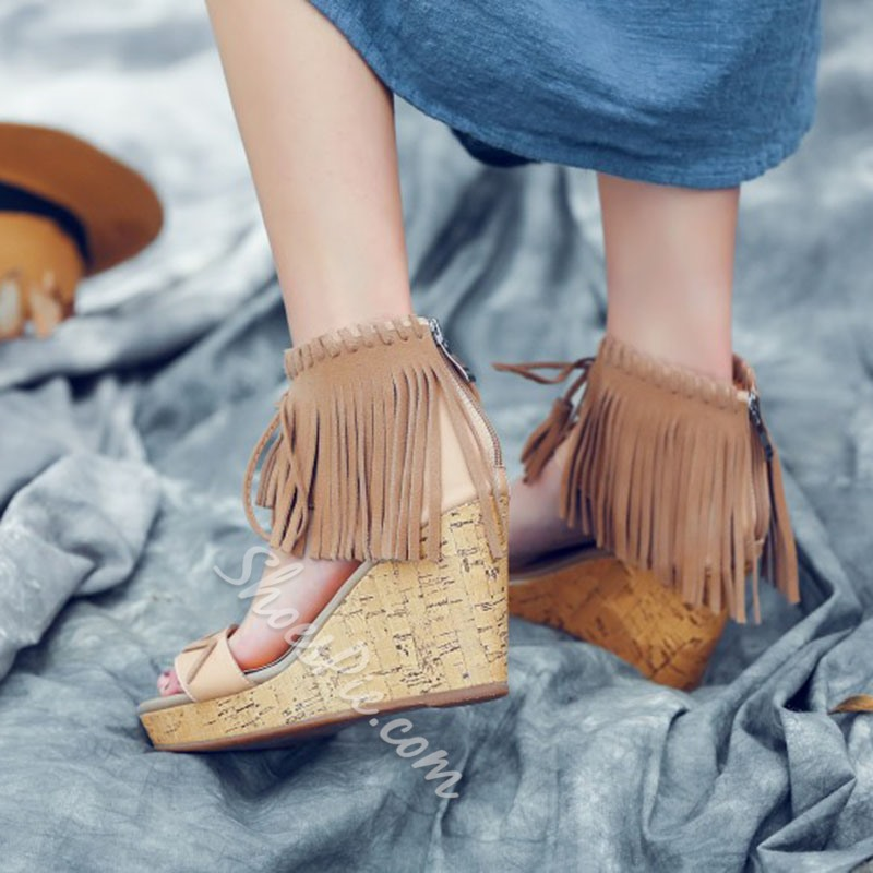 Shoespie Fringes Wedge Sandals