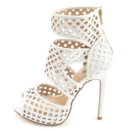 Shoespie White Cage Sandals