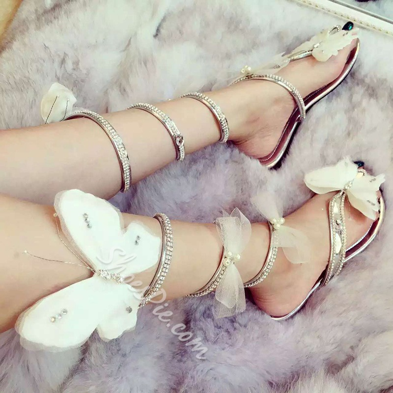 Shoespie Butterfly Decorated Flat Sandals