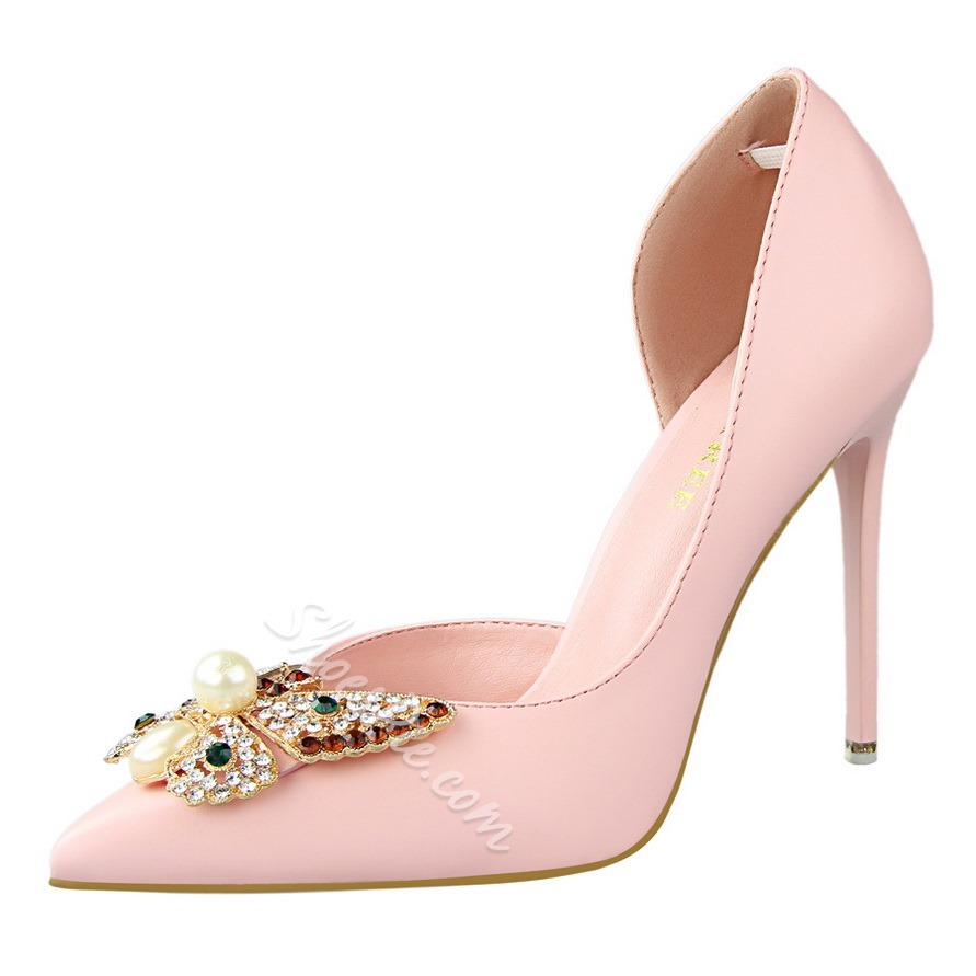Shoespie Butterfly Rhinestone Stiletto Heels