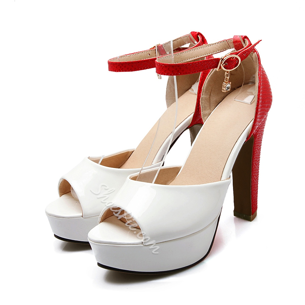 Shoespie Contrast Color Peep Toe Platform Heels