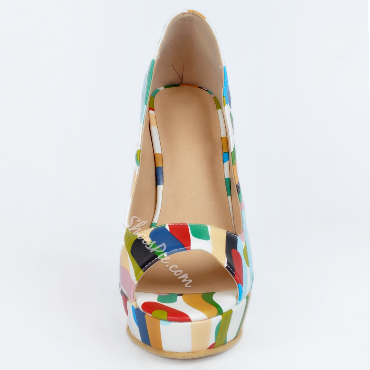 Shoespie Tropical Style Peep Toe Platform Heels