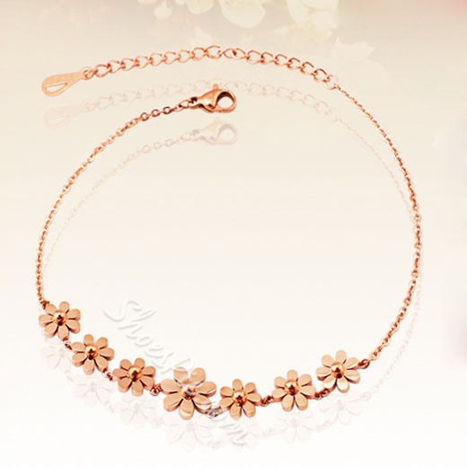 Shoespie Golden Sunflower Embellished Anklet