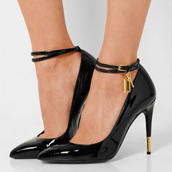 Shoespie Patent Leather Ankle Wrap Stiletto Heels