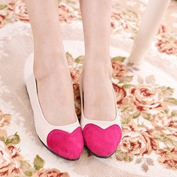 Shoespie Sweet Heart Contrast Color Loafers
