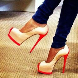 Shoespie Chic Contrast Color Peep Toe Platform Heels
