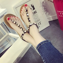 Shoespie Metal Flower Appliqure Flat Sandals