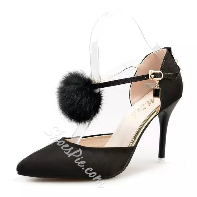 Shoespie Furry Pointed Toe Stiletto Heels