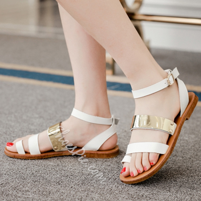 Shoespie Metal Decorated Clip Toe Flat Sandals