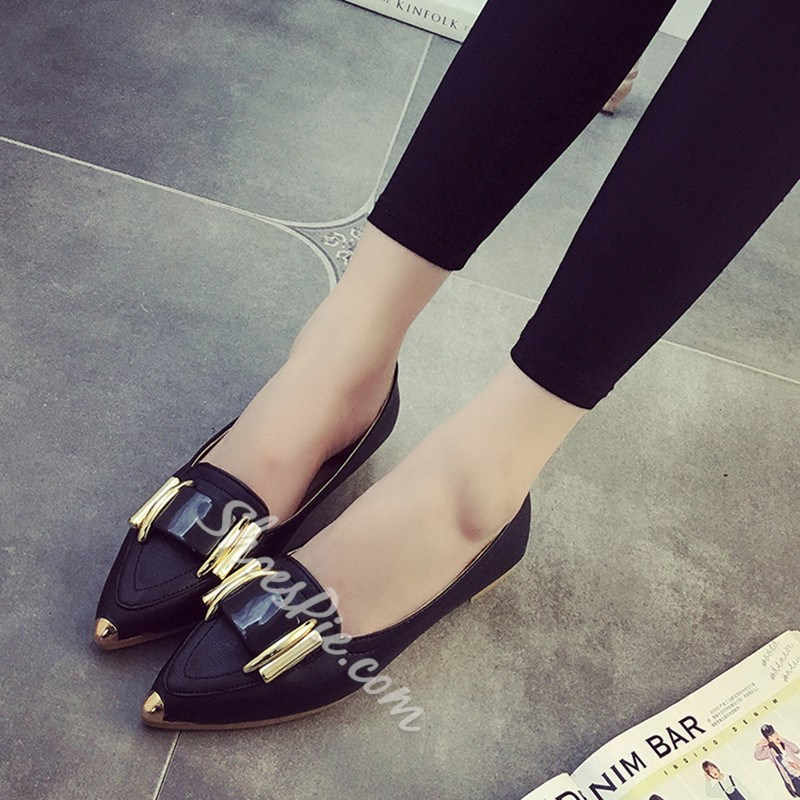 Shoespie Black Pointed Toe Loafers